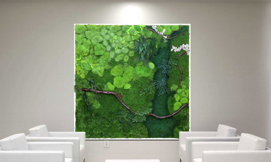 Artisan Moss plant painting of the Potomac River in the Eisenhower Building.